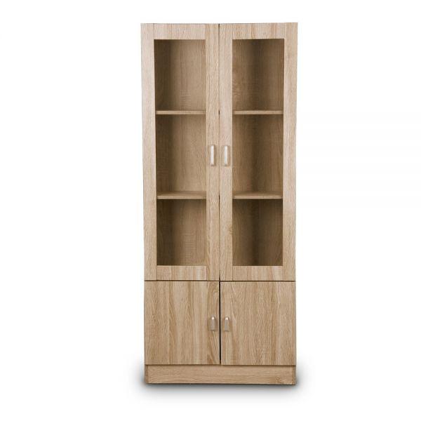 Ξύλινη βιβλιοθήκη-βιτρίνα με ντουλάπι