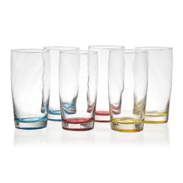 Σετ 6 γυάλινα ποτήρια νερού 450 ml., σε 3 χρώματα