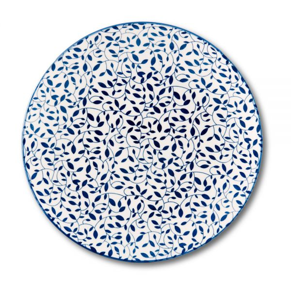"""Πιάτο ρηχό πορσελάνης """"Blue leaves"""" 27εκ"""