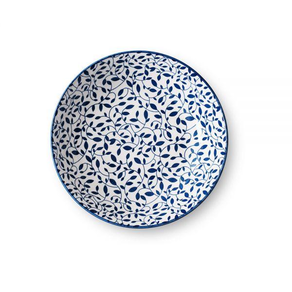 """Πιάτο βαθύ πορσελάνης """"Blue leaves"""" 20 εκ."""