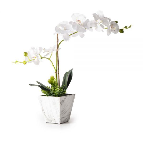 Γλαστράκι με τεχνητό φυτό, ορχιδέα
