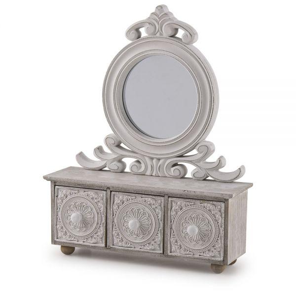 Ξύλινη κοσμηματοθήκη με καθρέφτη