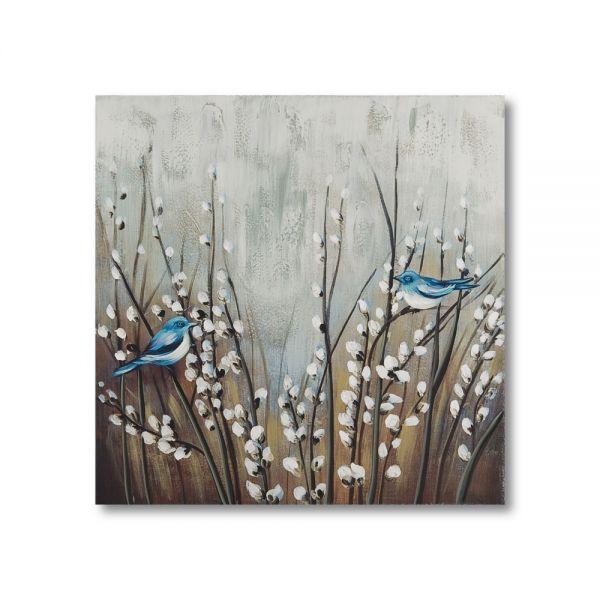 Πίνακας ελαιογραφίας πουλιά, 60χ60 εκ.