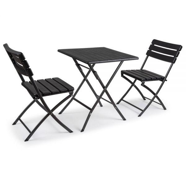 Σετ τραπέζι με 2 καρέκλες, με αναδιπλούμενο μεταλλικό σκελετό