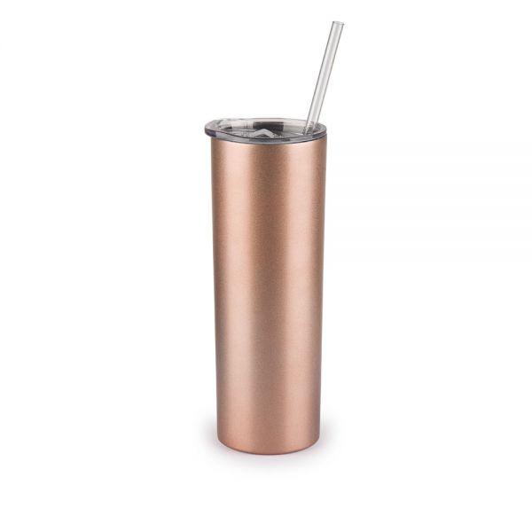 Ποτήρι θερμός 590 ml, ανοξείδωτο με διπλό τοίχωμα και καλαμάκι