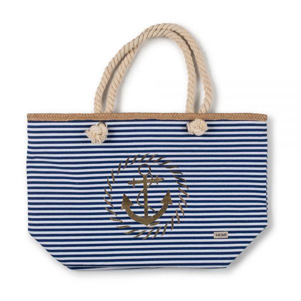 Τσάντα θαλάσσης 54χ36χ(37χ19)εκ. άγκυρα μπλε ρίγες