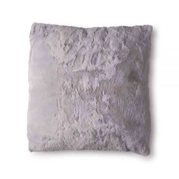 Γούνινο μαξιλάρι 45x45 εκ., ανοιχτό γκρι